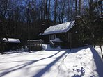 Creekstone Cabin covered in a 12 inch blanket of pure white.  Jan 22, 2016
