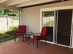 Patio in backyard is an extension to guest unit.  For guest use exclusively.