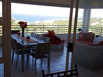 Lovely patio area and breakfast table to enjoy your early morning views of the ocean + Gas braaier