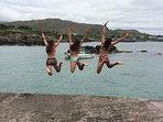 Pier jumping fun in Rath.