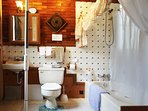 Bathroom -private - sink, tub with shower. Hair dryer, shampoo, towels and first aid kit.