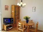 Tv, wi-fi and a cabinet full with books, maps, leaflets, guides, cds for your entertainment