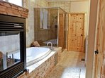 Master Bathroom with Fireplace, Jetted Tub and Separate Shower
