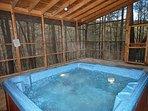 Hot Tub in Screened in Deck