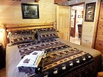 King Log Bed w/TV