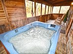Relax in the Hot Tub in the Screened in Deck