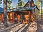 The private porch offers immaculate views of the ponderosa pine trees.