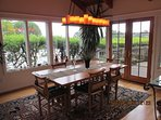 The dining room with doors to the deck.