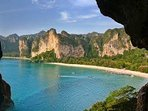 Stunning view from a mountainside cave of the Railay Peninsula.