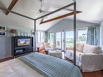 1st Level Master Bedroom Ensuite with TV, opens to deck and Gorgeous Atlantic Ocean Views