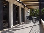The Terrace off the main Living area - South Facing with a Shaded Pergola -perfect for breakfast