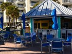 Tiki bar at the Sandpiper Beach Marriott, 5-6 minute walk from our condo