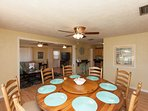 Our favorite part of the house: A round table that seats 8 comfortable. Great for family dinners