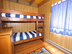 main floor bedroom with twin bunk beds