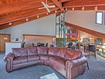 The community country club offers wonderful amenities, like an expansive lobby with fireplace and TV.