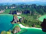 Aerial view of the natural wonder of the Railay Peninsula. On the doorstep of Villa Heaven Sent.