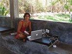 HiddenSide Courtyard  guests using WiFi