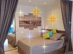Chambre principale avec lit 140 X 190 sommier et matelas Bulletex grand confort.