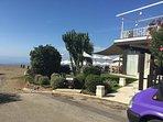 Beach bar restaurant on beach near villa