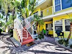 The Royal Palm unit up the stairs sleeps 8.