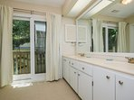 Large dressing room, double vanity.  Separate small water closet and shower