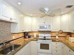 Appliances includes, fridge, freezer, ice maker, blender, toaster, coffee maker, strove, oven, microwave, & dishwasher.