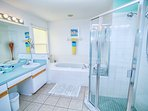 Master en suite, double basins, walk in shower and tub.