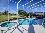 Pool, patio and covered screen area.