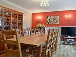 DINING ROOM WITH PINE/OAK DINING TABLE AND CHAIRS