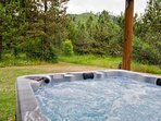 7 person hot tub, complete with LED lighting and incredible views of Nason Ridge.