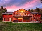 Rear exterior, hot tub patio, firetable and grill on deck, breathtaking sunsets.