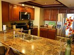 New kitchen, counter, appliances, conveniences of home for your vacation stay.