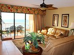 Well appointed furniture, custom drapes, HDTV & of course balcony and the view!