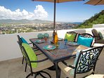 Comfortable outdoor dining with unobstructed view of all of Cabo