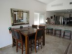Large living/dining area with all travertine floors