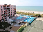 View from top floor Balcony in December - beaches, amenities & the Gulf - Pic 1.
