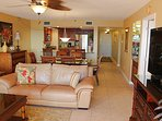 2 leather couches, dining glass table, palm tree pedestal - newly tiled luxury.