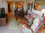 From Gulf View Balcony Toward Interior, Hallway to Entrance, Kitchen & Dining.