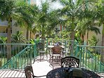 View from Cafe Seating and Entrance Toward Courtyard, Fountains and Beach.