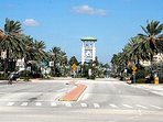 Beautiful Downtown Treasure Island with ParadiseLane Causeway Behind Bell Tower.