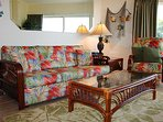 Deluxe Sleeper Sofa Furnishings and Swivel Recliner for Top Floor Gulf View.