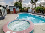 Nice size Backyard with Salt Water pool & jacuzzi!  Solar heated warm pool, electric spa heats up quickly & all...
