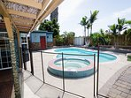 Outside Patio has a professionally installed Child Pool Safety Fence 5 ft high