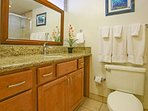 Upgraded bathroom with plenty of space to store your personal items.