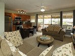 Living/kitchen and porch to enjoy your morning coffee while watching the waves and cruise ship.