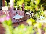 Spacious Veranda with Sunbeds and Hammock