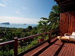 Large sun deck with vast views of the rainforest and ocean