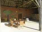 The barn with small kitchen and dining area, great place to sit in the shade