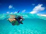 Practicando snorle en aguas cristalinas