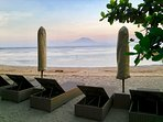 VILLA BETUTU, OUR BEACHFRONT LOUNGES, FOR COMPLIMENTARY USE, JUST A SHORT WALK  FROM THE VILLA.